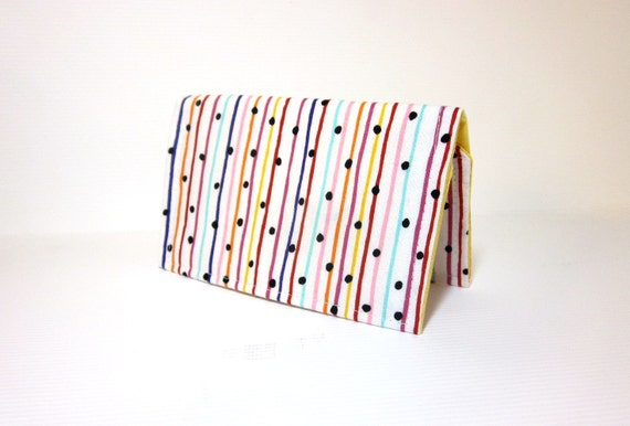 Reserved for Lisa  Fabric Business Card Holder, Credit Card, Business Card, Cloth Card Holder Bright Stripes and Dots