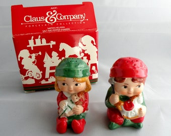 Salt and Pepper Shakers Santa's Helpers Vintage 1980's