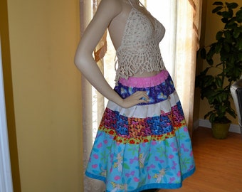 Tinkerbells Butterflies Gypsy Hippie Patchwork Skirt