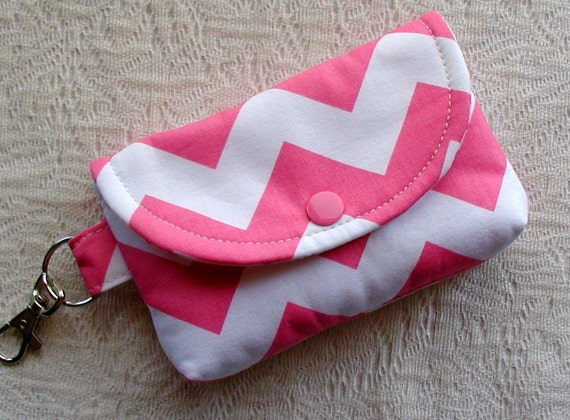 Small Snap Pouch w/ Key Clip ...Chevron in Pink