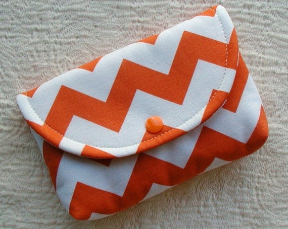 Large Snap Pouch ...Chevron in Orange