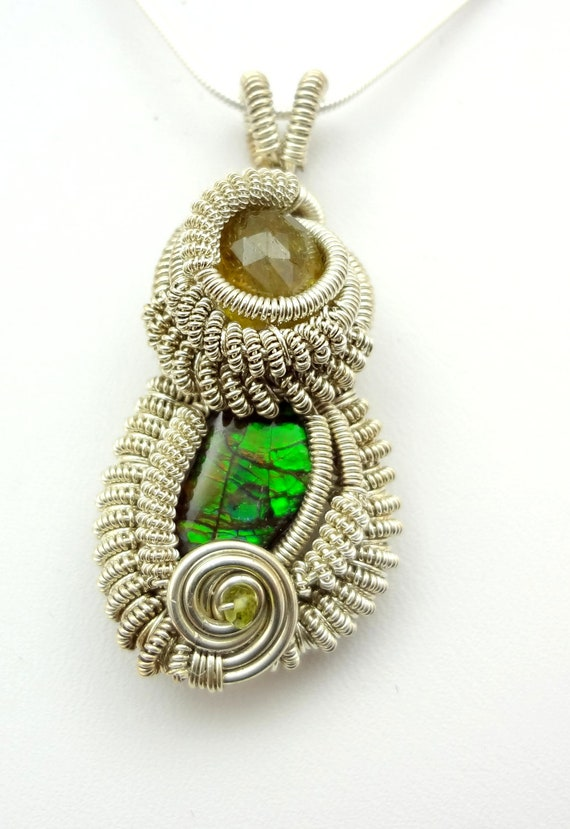 RESERVED          Tourmaline and Canadian Ammolite Wire Wrapped Pendant