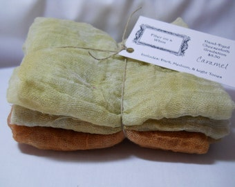 Caramel- 3pc Hand-Dyed Cheesecloth Gradation
