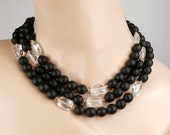 Black White Necklace Multistrand Onyx Rock Crystal Statement Bold Chunky Black Choker Handmade Necklace