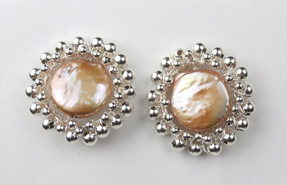 Champagne Coin Pearl Post Earrings Sterling Silver Ball Button Stud Handmade Post Earrings Weddng