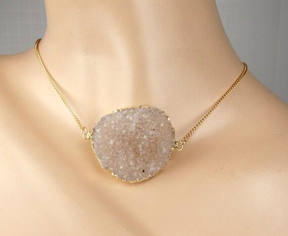 Large Druzy Necklace Sand Beige Druzy Crystal Choker Necklace Bold Druzy Statement Necklace Beach Wedding