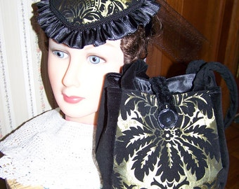 Shabby Chic Civil War Hat & Reticule for reenactors Victorian Ladies purse Gold or Green and Black Velvet