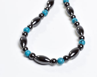 Magnetic Therapy Necklace- Magnetite and Turquiose Custom Made Any Length for Men and Women