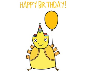 Alien Birthday Card - Yellow Alien