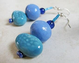 Beachy Blue Earrings Handmade Beads