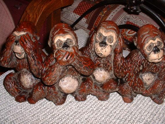 Four Wise Monkeys of Gandhi Ceramic See No Evil Hear No Evil Speak No Evil Think No Evil