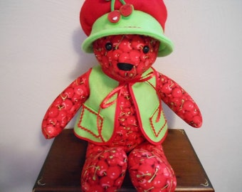 Teddy Bear Handmade in Cherry Print with Bright Green Vest and Floppy Hat, Stuffed Animal, Home Decor