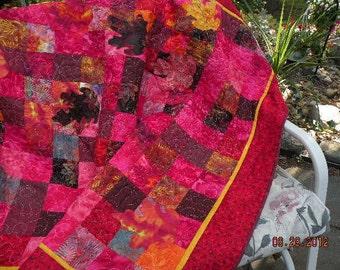 RED HOT  Batiks Lap Quilt