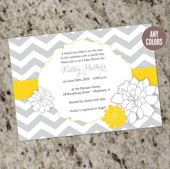 blooms baby shower invitations any colors printable design