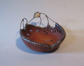 Small Decorative Pottery Bowl w/ Metal Work and Citrine Stone, Candle Holder