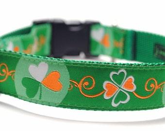 Irish Dog Collar / Kiss Me, I'm Irish / 4 Leaf Clover / St. Patrick's Day