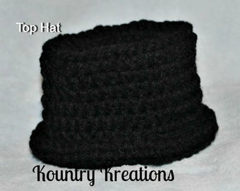 Crochet Top Hat/Crochet Hat/Crochet Baby Hat/Crochet Toddler Hat/TOP HAT Baby Hat (Ready to Ship)
