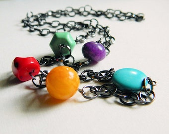 Colorful Necklace - Long Necklace. Mix of Colors, Turquoise, Coral, Red, Blue, Orange, Purple, Green, Rustic, Fall, Summer