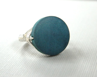 Teal Ring - To Order - Wood Ring. Blue Teal Silver Light Ring. Classic Ring. Teal Wood Ring. Teal Coin Ring. Jewelry Rings. Cocktail Rings