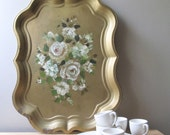 vintage tea tray, chippendale style tole tray, gold gilded tray, hand painted white floral decor