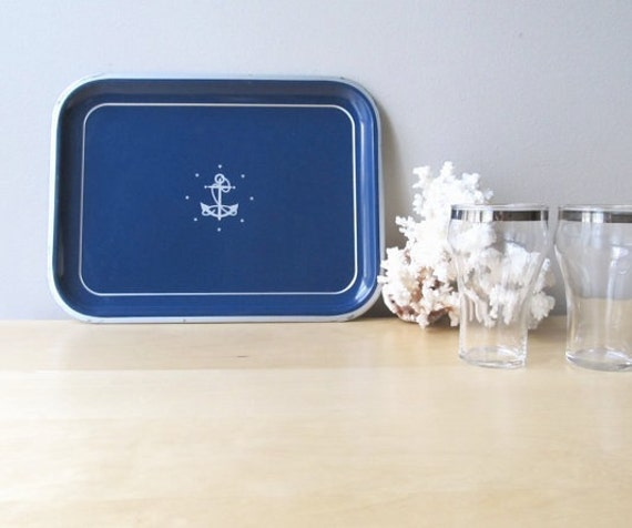 anchors aweigh, vintage metal tin tray, nautical decor