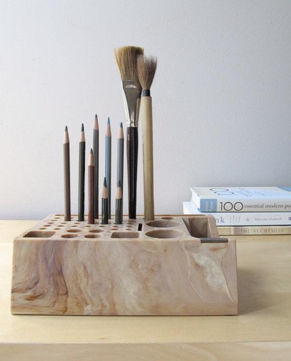 vintage desk organizer, artist tool holder, faux marble tape dispenser, back to school