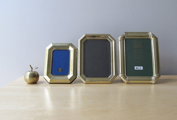 vintage brass photo frame, instant collection, hexagonal picture frames