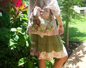 """Artsy country cabbage rose """"my secret garden"""" rosey pink collaged bag -  by simplyworn"""
