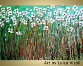 Large 60x Canvas Flowers Impasto Oil Original Painting Daisy Summer Field Abstract 5ftx3ft Flowers by Luiza Vizoli