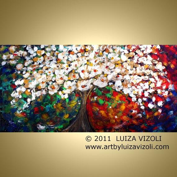 Original XLarge Painting Modern Impressionist Tree Landscape Palette Knife Oil Artwork BLOSSOM  by Luiza Vizoli 48x24