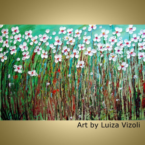 Large Canvas Flowers Impasto Oil Original Painting Daisy Summer Field Abstract Flowers by Luiza Vizoli