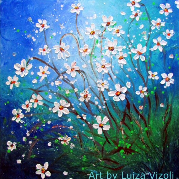 Original Abstract Painting HUGE Modern Impressionist White Flowers Large Oil Painting  DAISY Meadow by Luiza Vizoli 52x52