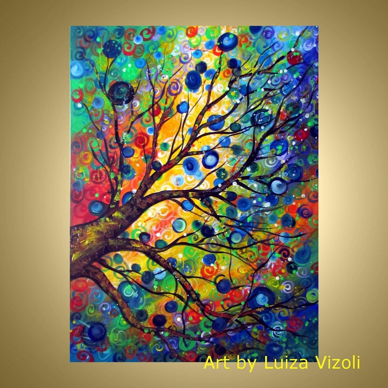Luiza Vizoli Tree Paintings Colorful Seasons