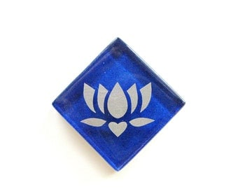 Lotus Silver Etched Royal Blue Glass MosaicTile Magnet The Lotus - Butterfly Project