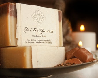 Chai Tea Chocolate Organic Soap Wrapped in Flower Seeded Paper, Palm-Oil Free