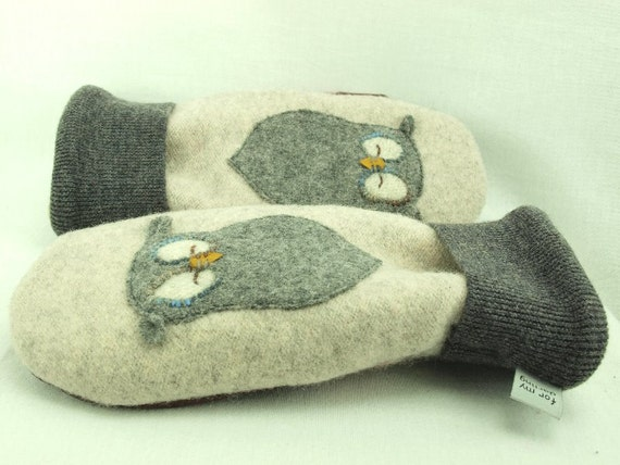 Eco Friendly Mittens Wool Sweater Mittens Felted Wool Cream Brown Owl Applique Fleece Lining Leather Palm Eco Friendly Upcycled Size M