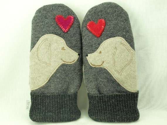 Mittens Felted Wool Golden Retriever Mittens Eco Friendly Mittens Grey, Beige and Red  Fleece Lining Suede Palm Eco Friendly