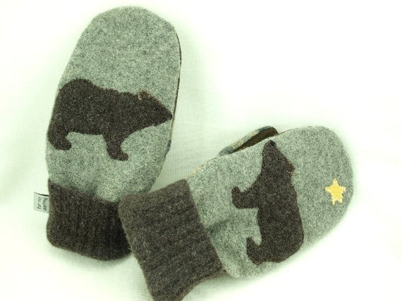 Felted Wool Mittens Bear Sweater Mittens Dark Brown and Grey Bear Applique Fleece Lining Leather Palm Eco Friendly Upcycled