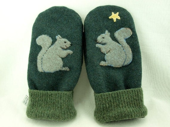 Men Felted Wool Mittens Squirrel  Sweater Mittens Dark Green Squirrel Applique Fleece Lining Leather Palm Eco Friendly Upcycled Size L