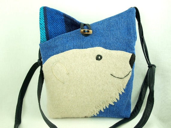 Shoulder Bag Recycled Linen Messenger Polar Bear Linen Bag Blue and White Adjustable Leather Strap Upcycled Eco Friendly Height 10""