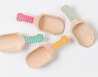 Chevron - 4 Larger Wooden Scoops - Great For Serving Toppings