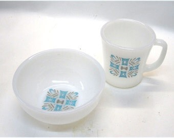 Fire King Glass Blue Heaven 1960's Mid-Century Modern Breakfast Set  Mug and Cereal Bowl