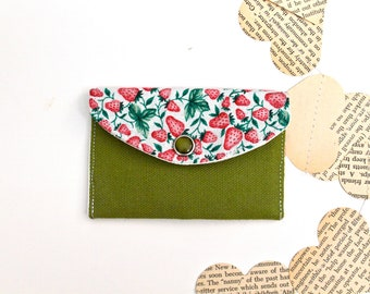 Mini Card Wallet - Fabric Womens Wallet - Lime Green with Pink Strawberries on the vine