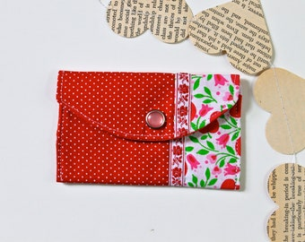 Small fabric wallet - Red polka dots and cherries