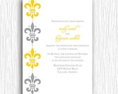 Wedding Invitation - Fleur de Lis Yellow and Grey Printable