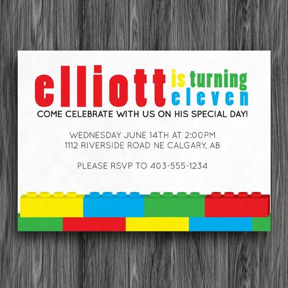 Printable Birthday Party Invitation - Building Blocks