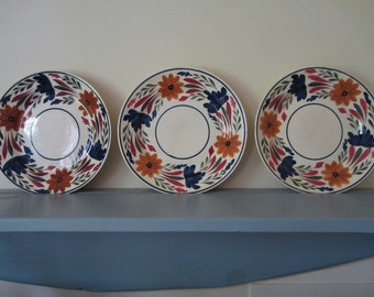 Vintage Dutch Societe Ceramique Maestricht earthenware plates Set of 3