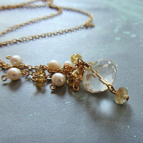 RESERVED for L - Citrine and Pearl Necklace, handmade.  Gold, White. Sweet Rhiannon
