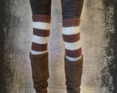 Brown and White Striped Leg Warmer Boot Warmers