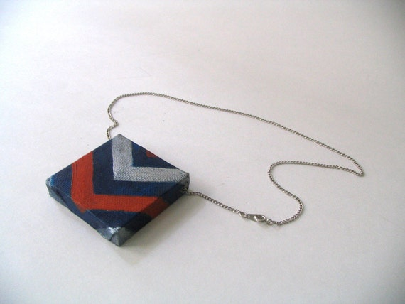 Hand painted Navy/Scarlet/Silver Canvas Chevron Pendant